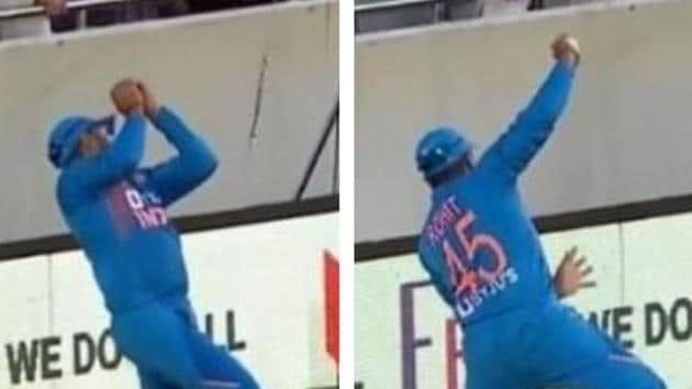 Rohit Sharma takes a sensational catch.(HT Collage)