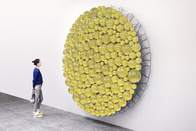 Scandinavian artist Olafur Eliasson, will return to the fair this year with another massive installation that uses light, reflection and scale. Seen here is a work from 2019 titled Dew Reflector.(Studio Olafur Eliasson)