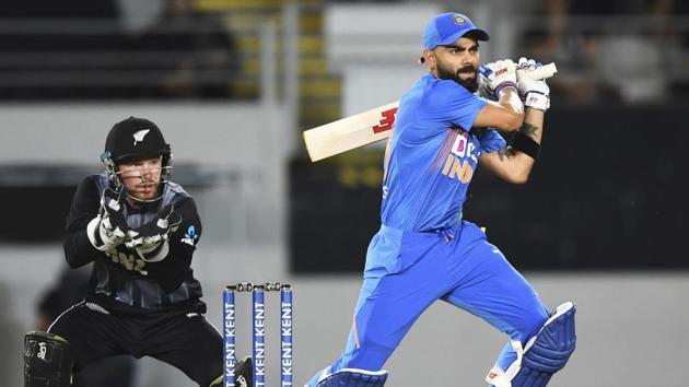 Auckland: India captain Virat Kohli bats as New Zealand keeper Tim Seifert looks on during the Twenty/20 cricket international between India and New Zealand in Auckland, New Zealand, Friday, Jan. 24, 2020.(AP)