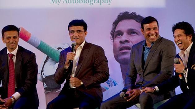 File photo of Sourav Ganguly, Rahul Dravid, VVS Laxman and Sachin Tendulkar(Hindustan Times via Getty Images)