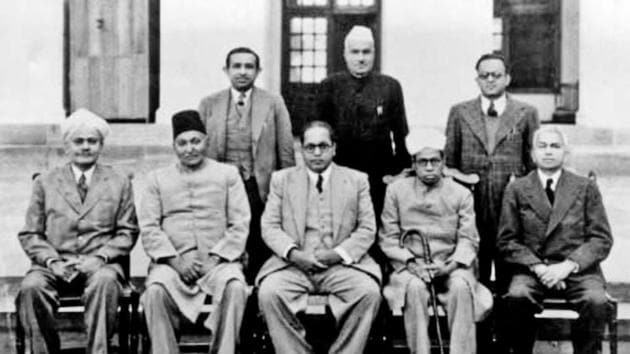 A photo of the drafting committee of the Constituent Assembly with its chairman BR Ambedkar in the centre.(Alamy Photo)