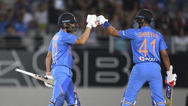 India's Manish Pandey and Shreyas Iyer, right, celebrate during the Twenty/20 cricket international between India and New Zealand in Auckland.(AP)