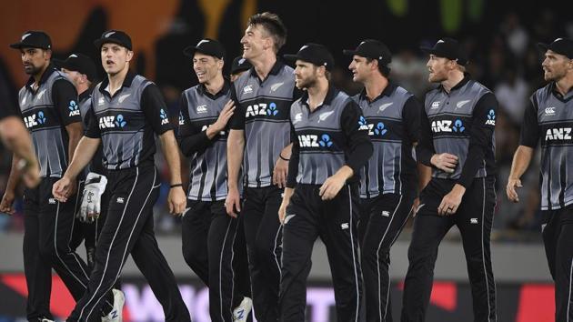 New Zealand players gather during the Twenty/20 cricket international between India and New Zealand in Auckland, New Zealand, Friday, Jan. 24, 2020. (Andrew Cornaga/Photosport via AP)(AP)