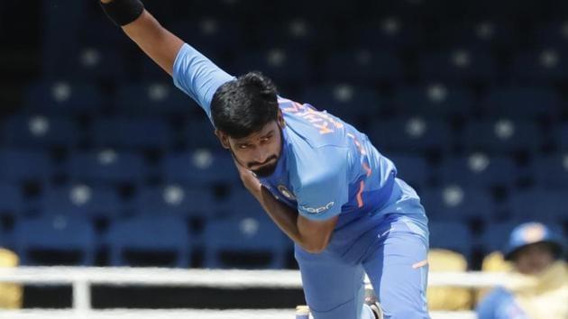 India's Khaleel Ahmed bowls(AP)