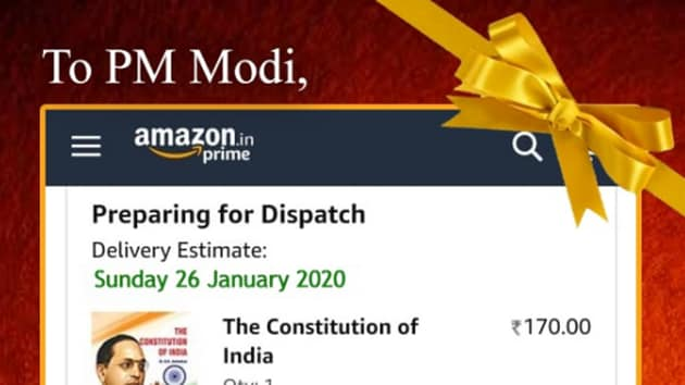 """The Congress posted a picture of the gift that it said will be reaching the """"Dear PM"""" soon. However, the address, as seen in the picture, was one of E Block Central Secretariat and not the PM's official residence at 7, Lok Kalyan Marg. (Photo @INCIndia)"""