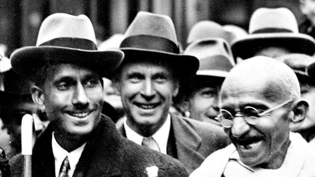 Indian political and spiritual leader Mahatma Gandhi with GD Birla at Boulogne station on the way to England to attend the Round Table Conference as the representative of the Indian Nationals.(HT Archives/ Getty Images)