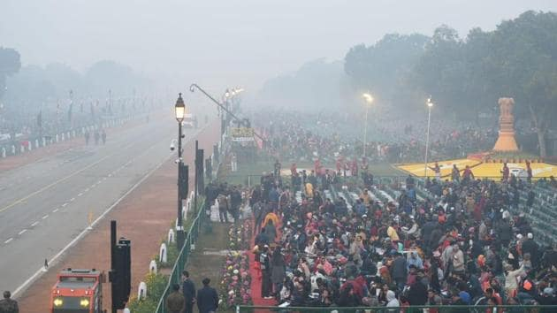 Guests at the 71st Republic Day parade at Rajpath, New Delhi on January 26, 2020.(Arvind Yadav/HT Photo)