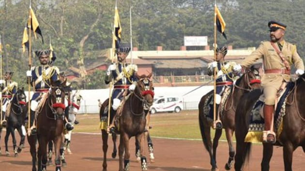 The riders of the Mumbai Police's mounted unit will wear a blue sherwani with silver trimming, white breeches and a turban designed by Manish Malhotra. (Photo @AUThackeray)