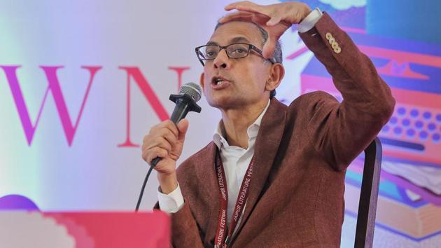 Noble Laureate Abhijit V Banerjee speaks during the Jaipur Literature Festival at Diggi Palace, in Jaipur, Sunday, Jan. 26, 2020.(PTI)
