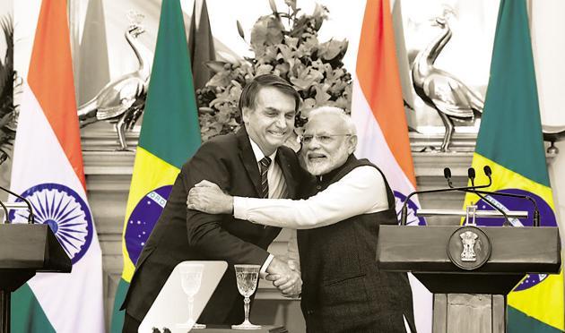 Prime Minister Narendra Modi with Brazil's President, Jair Messias Bolsonaro, at the Hyderabad House, New Delhi, January 25(Mohd Zakir/HT PHOTO)