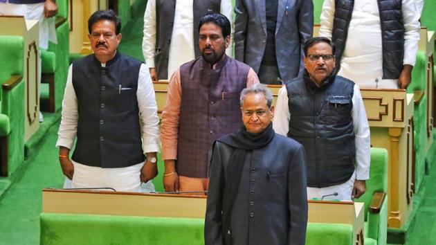Rajasthan Chief Minister Ashok Gehlot during the ongoing session of Rajasthan Assembly, in Jaipur on Friday.(Photo: PTI)