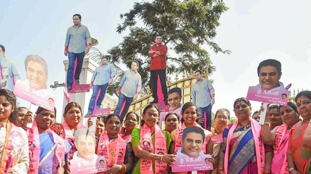 TRS workers celebrate their win in municipal elections in Hyderabad, Telangana.(PTI)