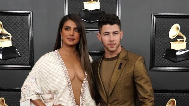 62nd Grammy Awards: Priyanka Chopra and Nick Jonas at the red carpet.(REUTERS)