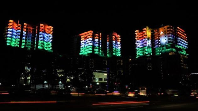 About 1800 LED lights illumination of saffron, white and green, was displayed in a three-day sequence run-up to the Republic Day starting January 24, 2020.(Business Wire India)