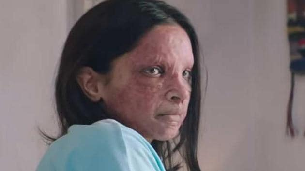 Deepika Padukone in a still from Chhapaak.
