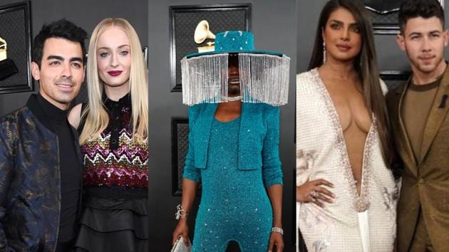 Sophie Turner, Priyanka Chopra and Billy Turner attended the 62nd Grammy Awards in style.(REUTERS/ AP)