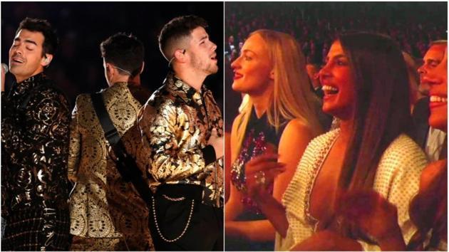 Priyanka Chopra, Sophie Turner and Danielle Jonas cheering for Jonas Brothers.