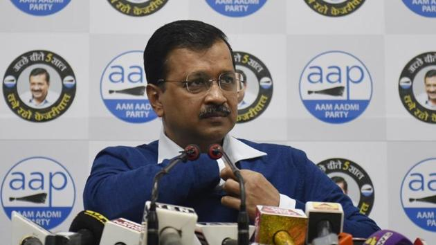 Delhi Chief Minister Arvind Kejriwal speaks to media during a press conference, at the AAP party Office, at DDU Marg, in New Delhi.(Vipin Kumar / Hindustan Times)