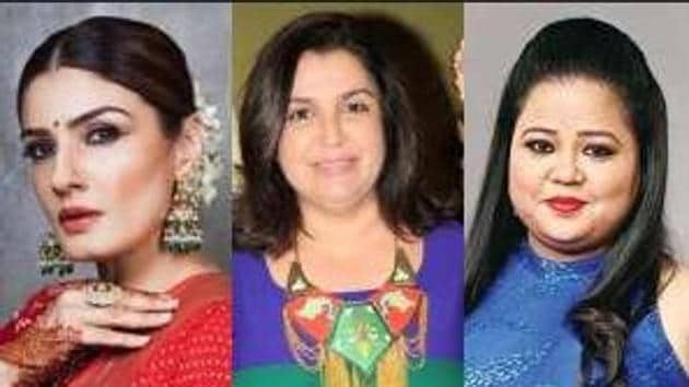 (From left) Actor Raveena Tandon, director Farah Khan and comedian Bharti Singh were named in an FIR at Ajnala in Amritsar district for outraging religious feelings in December.(HT photos)