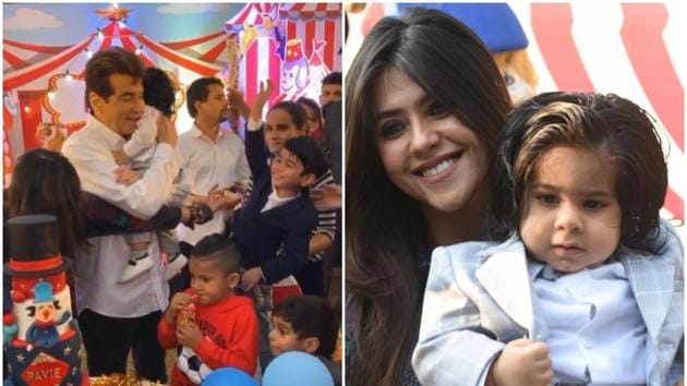 Ekta Kapoor's son Ravie, who turned one on Jan 27, got a sweet birthday message from union minister and former actor Smriti Irani.(Varinder Chawla)