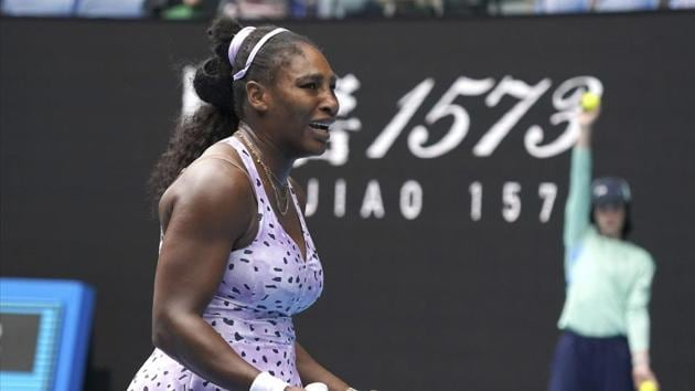Serena Williams as she plays China's Wang Qiang in their third round singles match at the Australian Open.(AP)