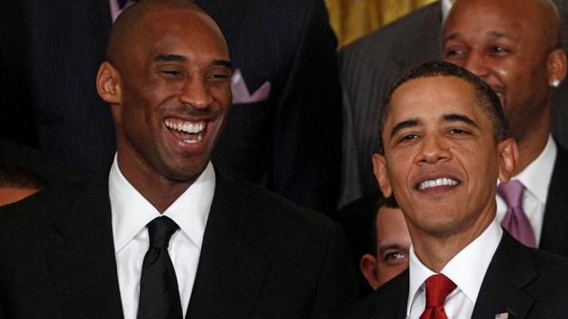 US President Barack Obama shares a laugh with Kobe Bryant during a ceremony honoring the 2009 NBA basketball champions Los Angeles Lakers in the East Room at the White House in Washington, January 25, 2010.(REUTERS)