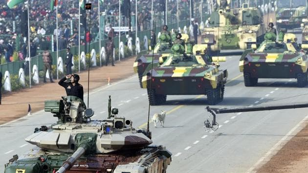 Army's T-90 tanks march down Rajpath during the 71st Republic Day parade in New Delhi, on Sunday, January 26, 2020.(Arvind Yadav/HT PHOTO)