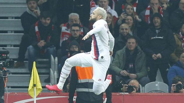 PSG's Neymar celebrates after scoring the opening goal.(AP)