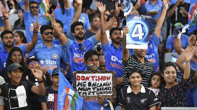 India fans and supporters cheer during the Twenty/20 cricket international between India and New Zealand in Auckland, New Zealand, Friday, Jan. 24, 2020.(AP)