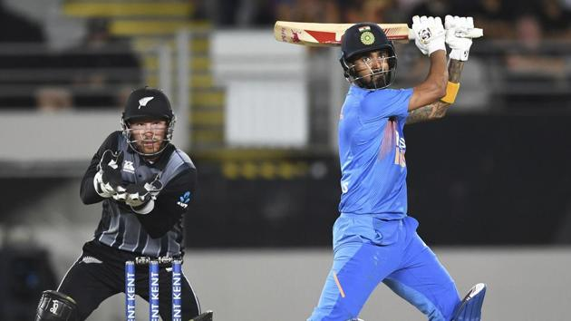 KL Rahul in action during the second T20I between India and New Zealand.(AP)