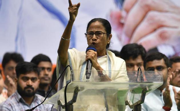 Bengal Chief Minister Mamata Banerjee addresses the gathering during a two day Students Workshop of Trinamool Congress Chhatra Parishad, at Netaji Indoor stadium, in Kolkata on Monday.(Samir Jana/.HT Photo)
