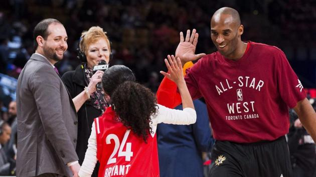 In a file image,Kobe Bryant (24) high-fives his daughter Gianna on the court.(AP)