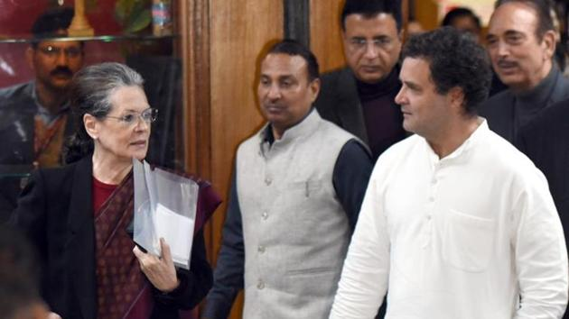 Party president Sonia Gandhi, former PM Dr. Manmohan Singh, former president Rahul Gandhi are among the Congress leaders expected to be present at a party meeting on Union Budget on Monday evening.(Sonu Mehta/HT File Photo)