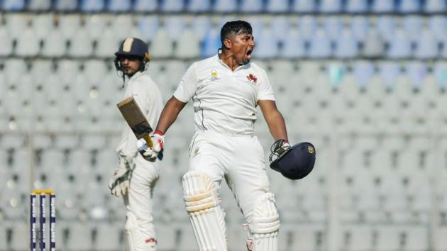 Sarfaraz Khan reacts during the third day of Ranji Trophy.(PTI)