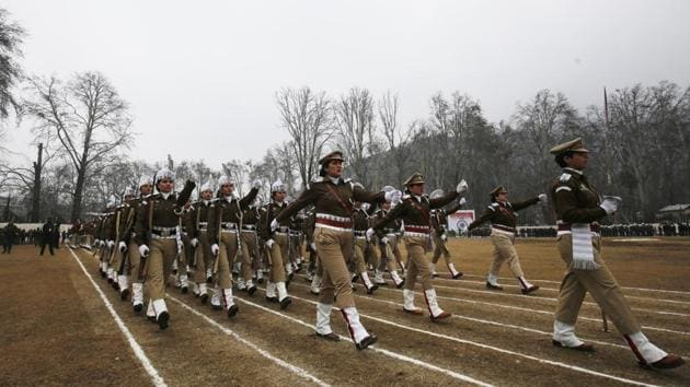 Female police personnel march past during 71th Republic Day celebrations in Srinagar, Jammu and Kashmir on Sunday, January 26, 2020.(Photo by Waseem Andrabi / Hindustan Times)