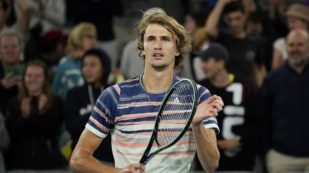 Alexander Zverev celebrates after his match against Russia's Andrei Rublev.(REUTERS)