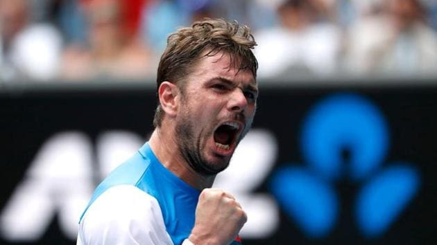 Switzerland's Stan Wawrinka reacts during his match against Russia's Medvedev.(REUTERS)