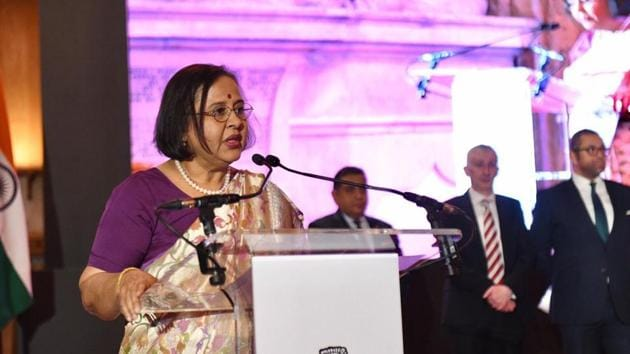 Indian high commissioner Ruchi Ghanashyam recalled India's achievements since the Constitution was adopted in 1950(HT Photo)