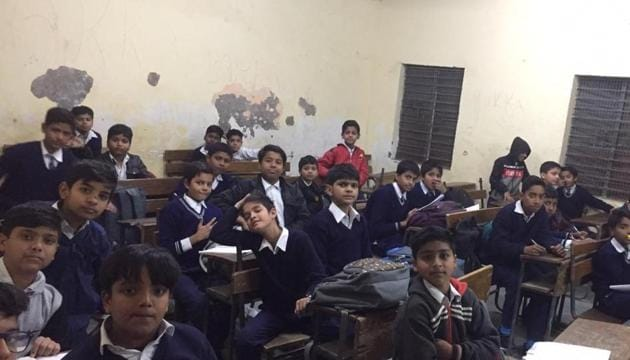 """The Aam Aadmi Party (AAP) government claims quality education and """"world class"""" infrastructure in its schools in the Capital.(HT Photo)"""
