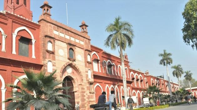 Protesters blocked entry to the AMU engineering college on Tuesday, preventing the holding of an examination for the second consecutive day.(Agencies/File)