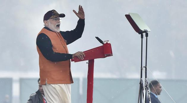 Prime Minister Narendra Modi addresses the audience during the Annual National Cadet Corps (NCC) Rally 2020, at Cariappa Parade Ground, in New Delhi.(Ajay Aggarwal/HT PHOTO)