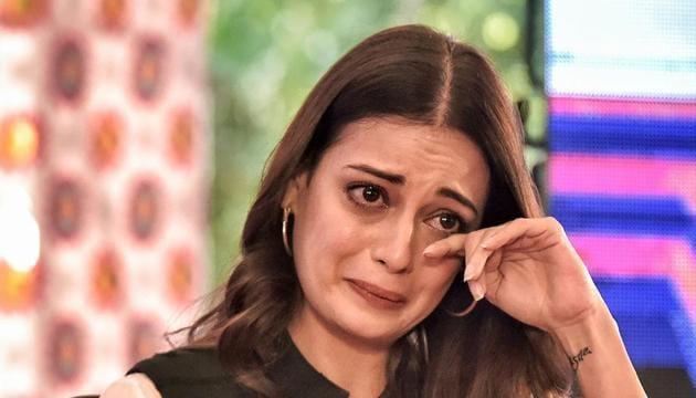 Dia Mirza gets emotional during the Jaipur Literature Festival at Diggi Palace, in Jaipur, Monday.(PTI)