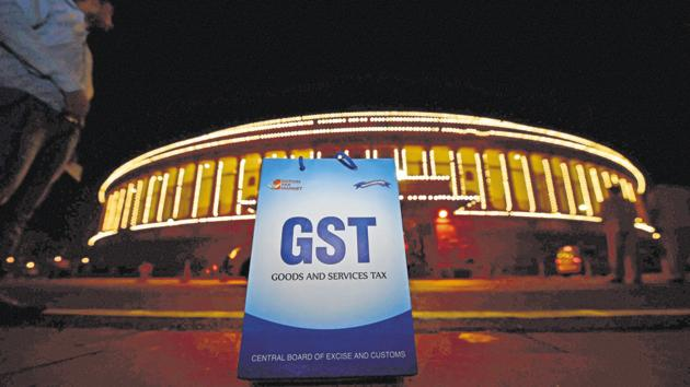 An illuminated Parliament ahead of midnight launch of 'Goods and Services Tax (GST)' in New Delhi on Saturday.(PTI)