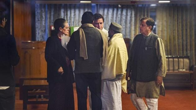 New Delhi: Congress interim President Sonia Gandhi with party leaders Rahul Gandhi, AK Anthony, Ahmed Patel and others after an Opposition leaders meeting.(PTI)