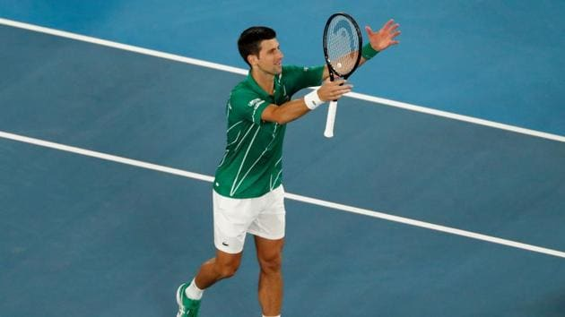 Serbia's Novak Djokovic celebrates after his match against Canada's Milos Raonic.(REUTERS)