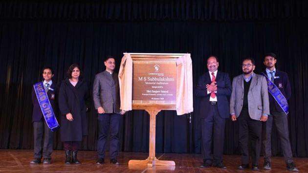MS Subbulakshmi auditorium at Cambridge School, Greater Noida.(HT)