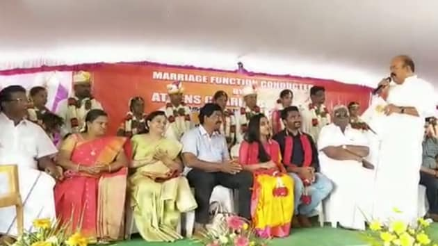 The weddings of the seven couples were held in Pollachi town in Coimbatore district of Tamil Nadu(HT Photo)