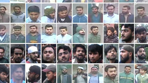 A grab of the photos of Jamia Nagar violence suspects shared by the Delhi Police.