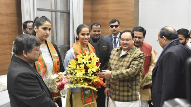 Badminton star and ace shuttler Saina Nehwal joined the Bharatiya Janata Party (BJP) on Wednesday.(HT Photo/Sonu Mehta)