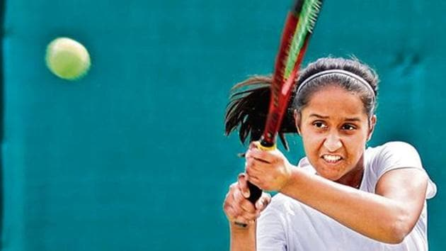 Adkar's ground strokes were just too powerful for Kashish Bote, who she defeated on Tuesday at the Deccan Gymkhana courts 6-1, 6-2.(HT)